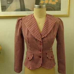 Vintage Checkered Blazer Jacket with Pockets